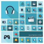 Flat colored icons with long shadows. Abstract multimedia technology background.