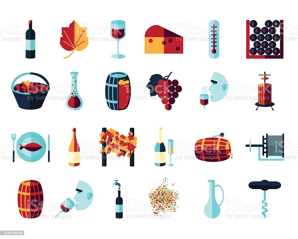 flat colored wine icons vector art illustration