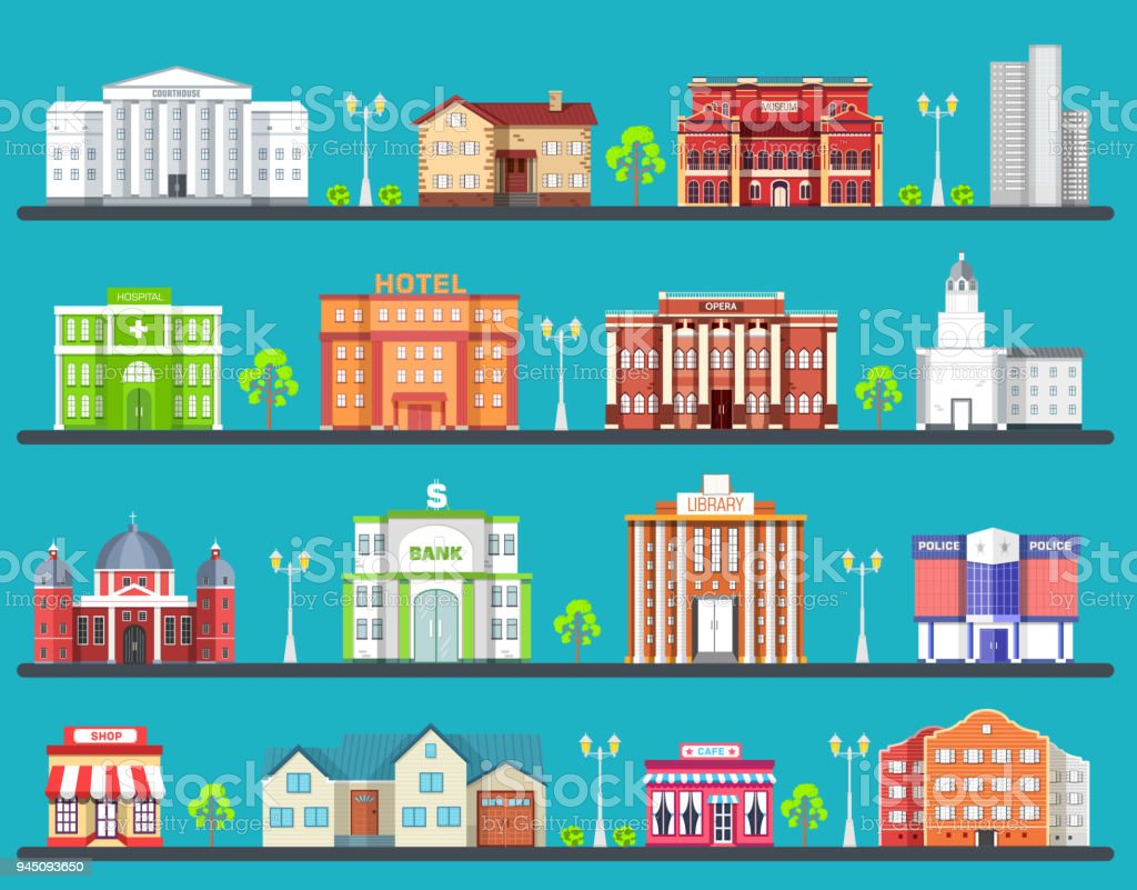 Flat Colorful City Buildings Set Icon Background Concept