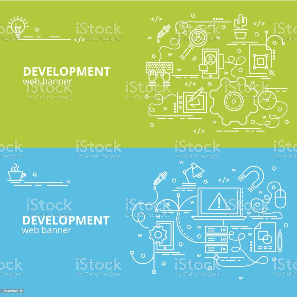 Flat colorful design concept for Development. vector art illustration
