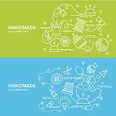 Infographic idea of making creative products. Template for website banner, flyer and poster.