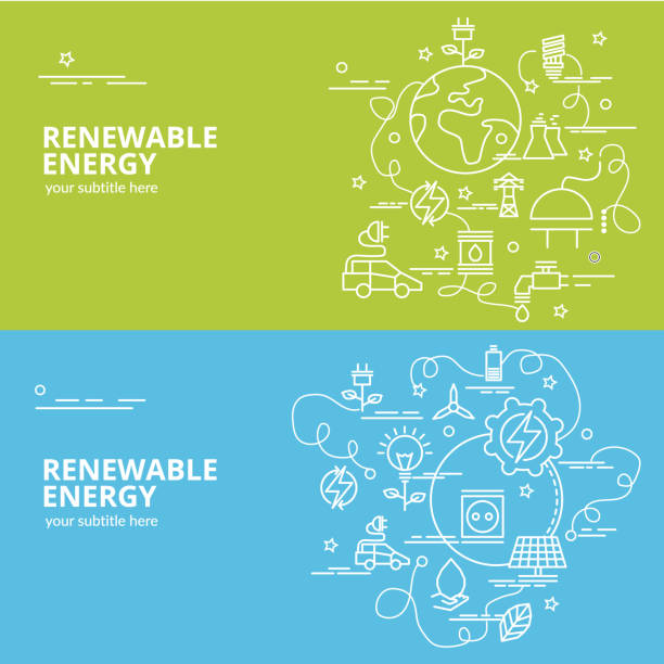 Flat colorful design concept for Renewable Energy. Infographic idea of making creative products. Template for website banner, flyer and poster. energy efficient stock illustrations