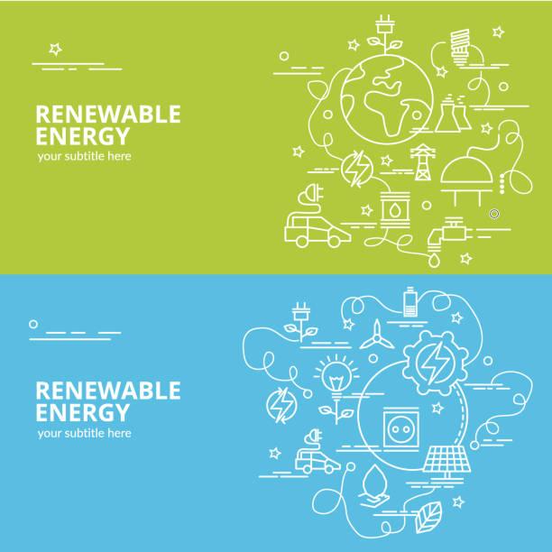 stockillustraties, clipart, cartoons en iconen met plat kleurrijk ontwerpconcept voor hernieuwbare energie. - renewable energy