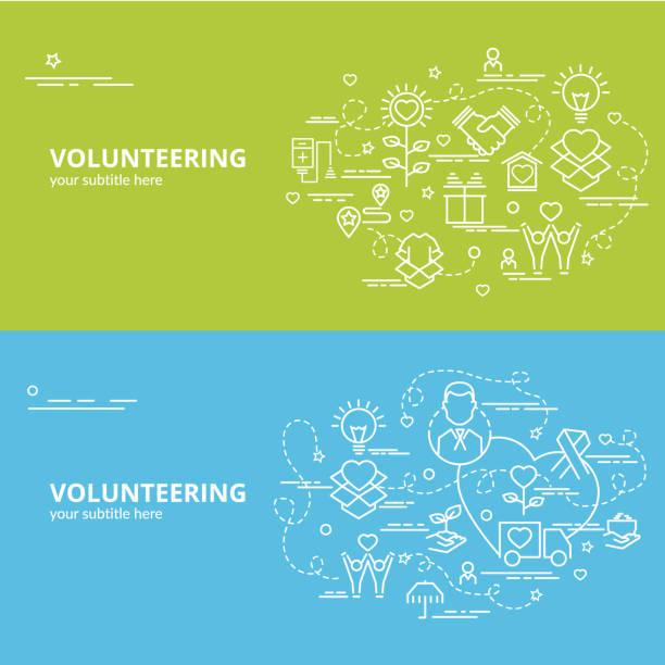 stockillustraties, clipart, cartoons en iconen met plat kleurrijk ontwerpconcept voor vrijwilligerswerk. - sociale dienst