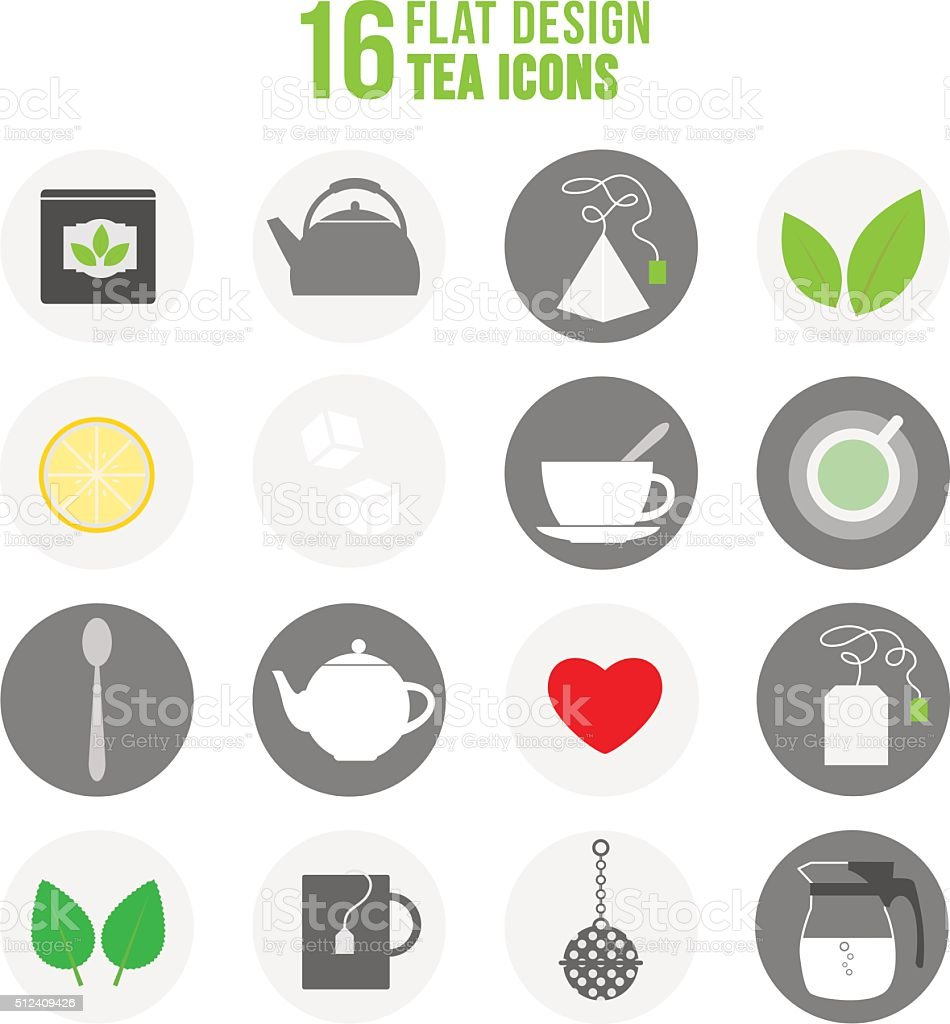 Flat colorful design tea icons set vector art illustration