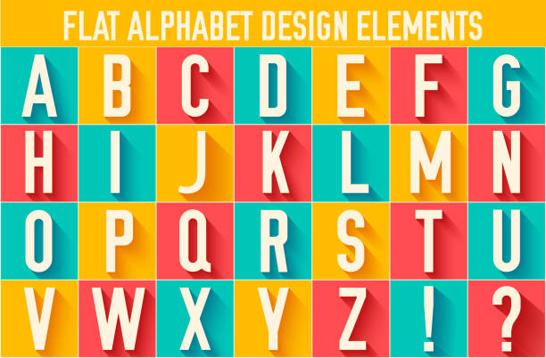 flat colorful letter of the alphabet vector design concept background flat colorful letter of the alphabet two dimensional shape stock illustrations