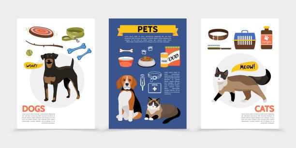 ilustrações de stock, clip art, desenhos animados e ícones de flat colorful pet shop brochures - lata comida gato