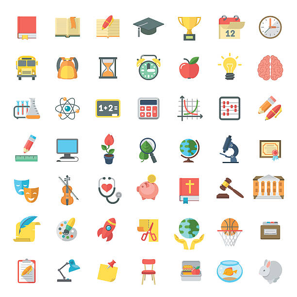 Flat Colorful School Subjects Icons Isolated on white Set of modern flat vector icons of school subjects, activities, education and science symbols isolated on white. Concepts for web site, mobile or computer apps, infographics topics stock illustrations