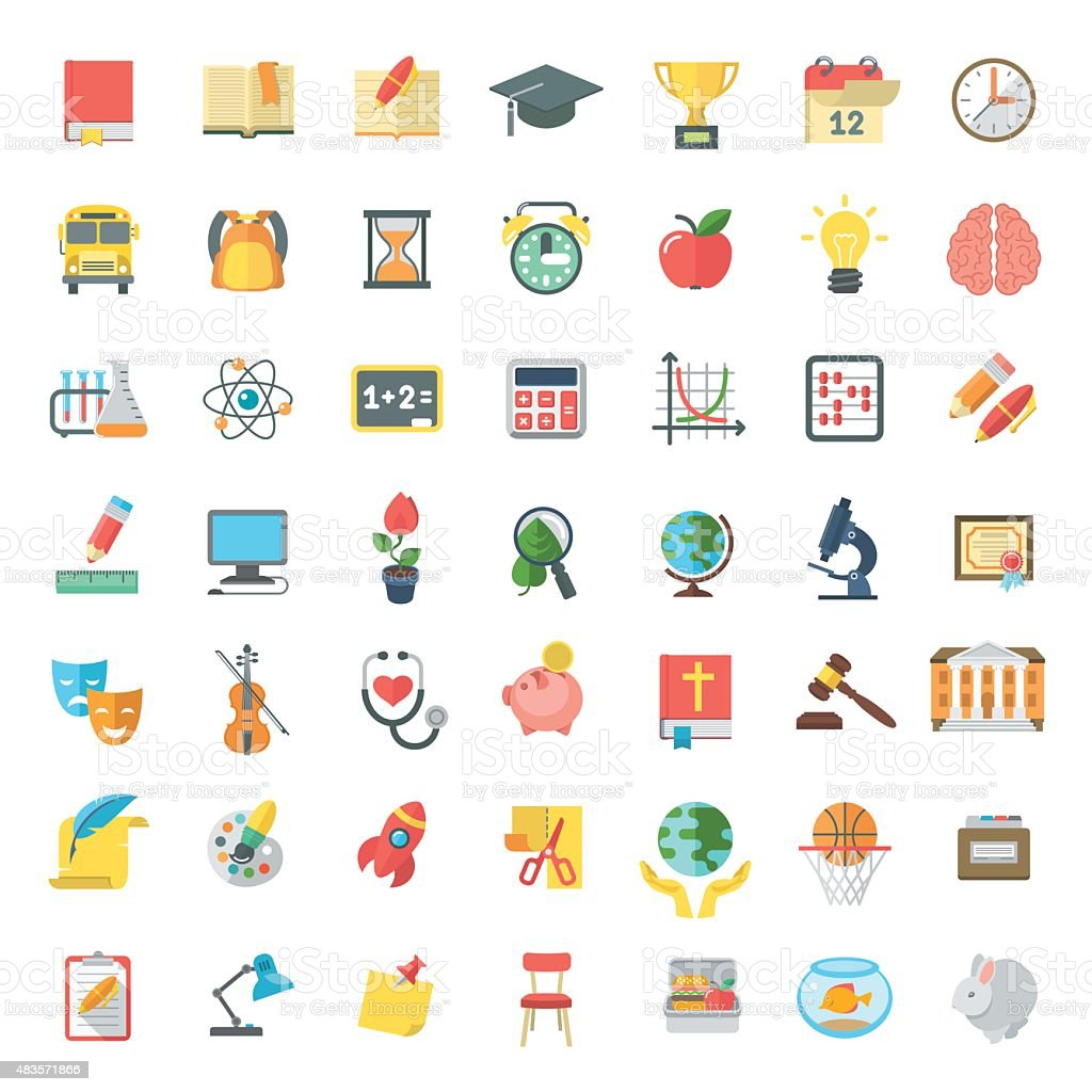 Flat Colorful School Subjects Icons Isolated on white vector art illustration