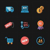 This is a vector illustration of Flat colorful shop icons on black