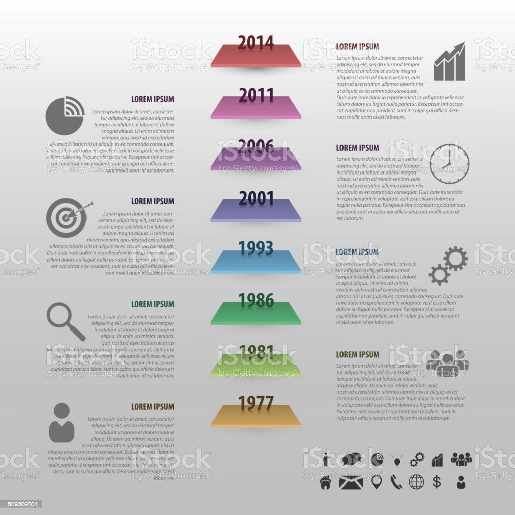 Ilustración de Cronología Infografías Vector De Colorida Plana Con ...