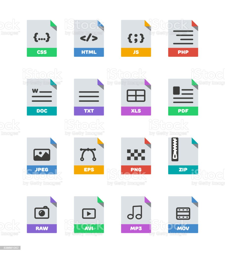Flat colorful vector file format icons set isolated on white