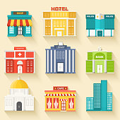 Flat colorful vector sity buildings set. Icons background concept design