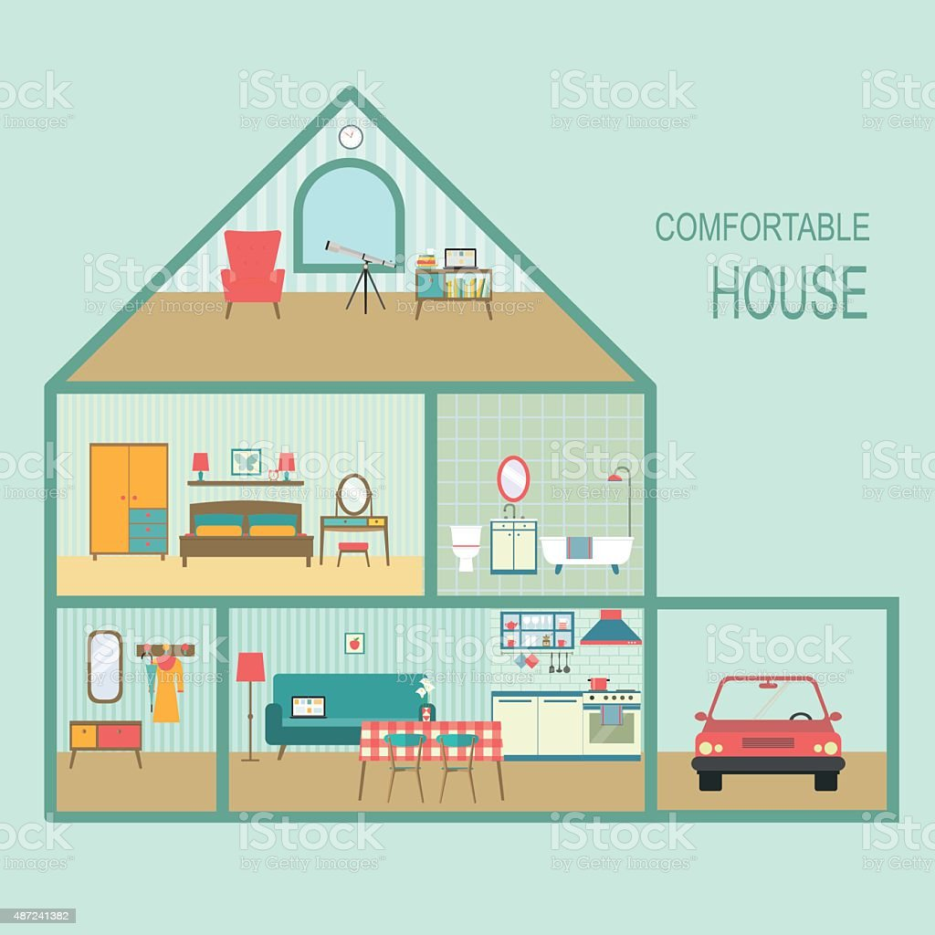 Flat Comfortable House Section Vector Illustration Stock