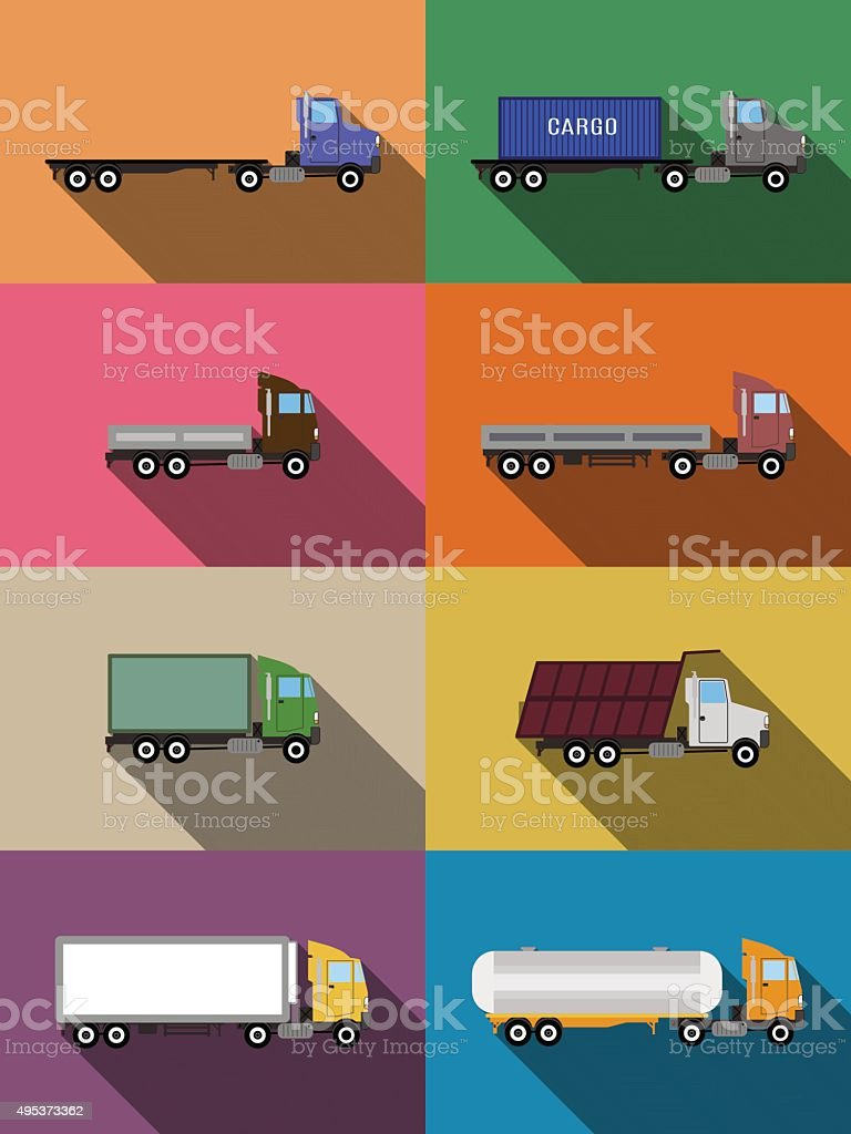 flat commercial vehicles set vector art illustration