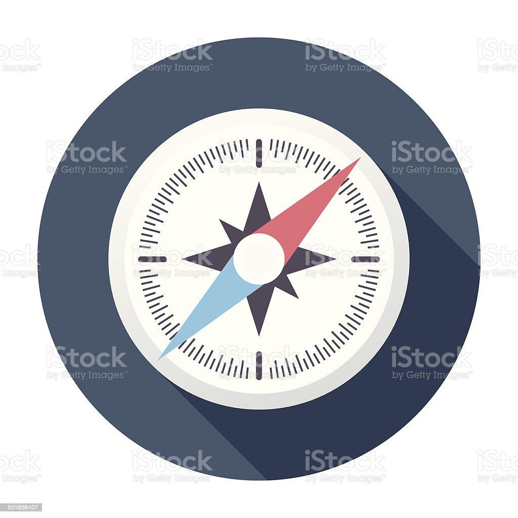 Brújula icono plana - ilustración de arte vectorial