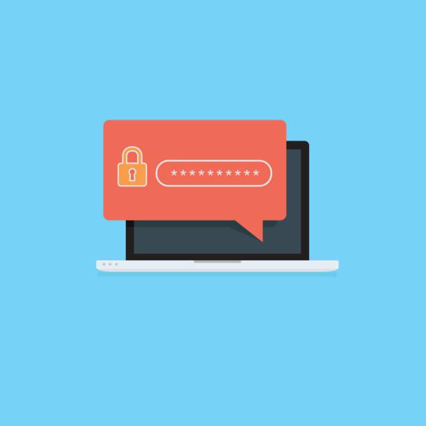 ilustrações, clipart, desenhos animados e ícones de computador plano com ícone de cadeado de segurança. conceito de proteção de segurança de internet. laptop com campo de segurança de senha na tela - roubo de identidade
