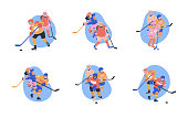 Flat concept illustrations with young male and female ice hockey players. Isolated vector set with happy children.