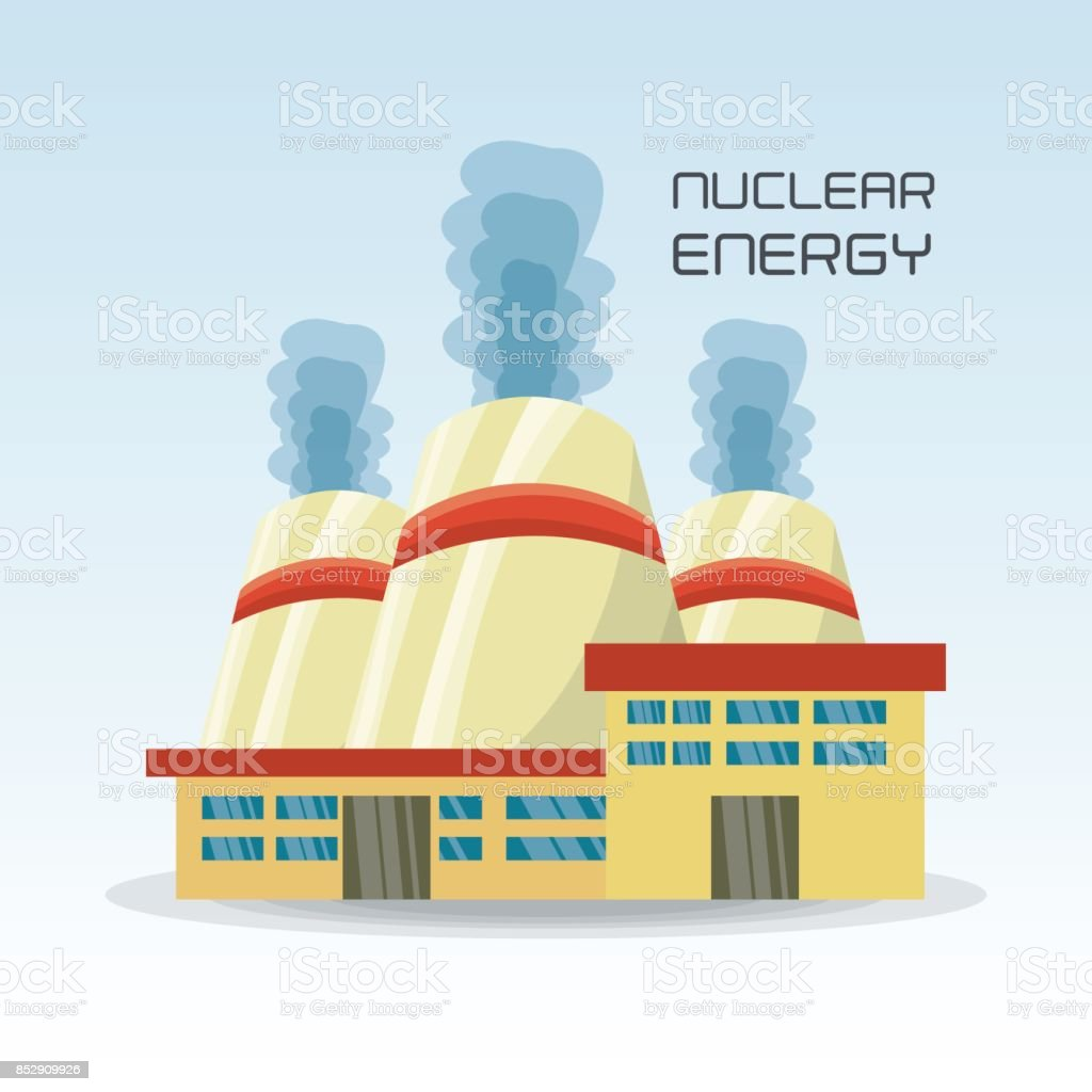 Flat Concept Nuclear Plant Generator Energy Stock Vector Art More Power Diagram Royalty Free