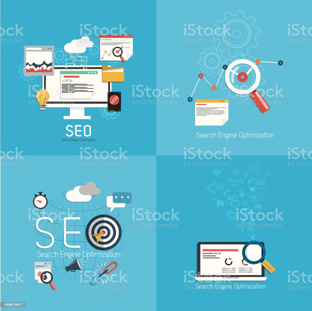 Flat concept of seo process- vector art illustration