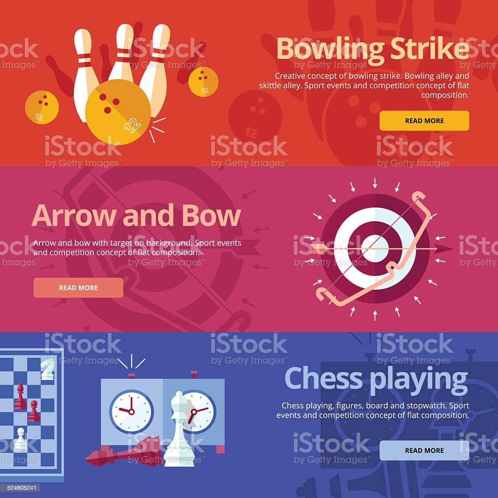 Flat concepts for bowling strike, arrow bow, chess playing. vector art illustration