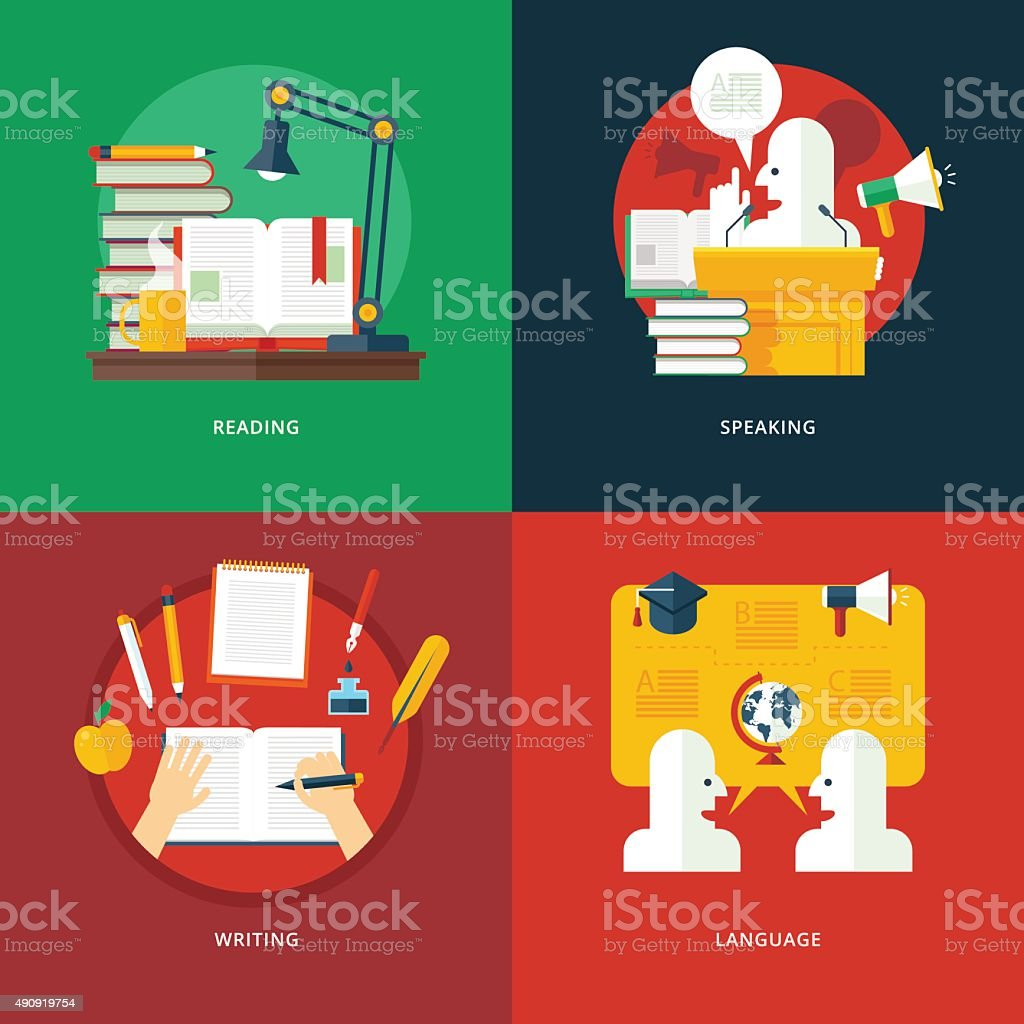 Flat concepts for reading, speaking, writing, language lessons. Education, knowledge. vector art illustration