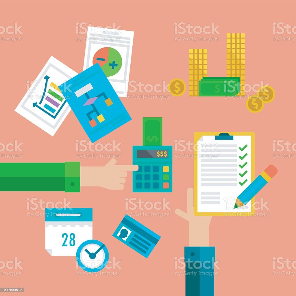 Flat concepts for taxes, finance, bookkeeping and accounting. vector art illustration