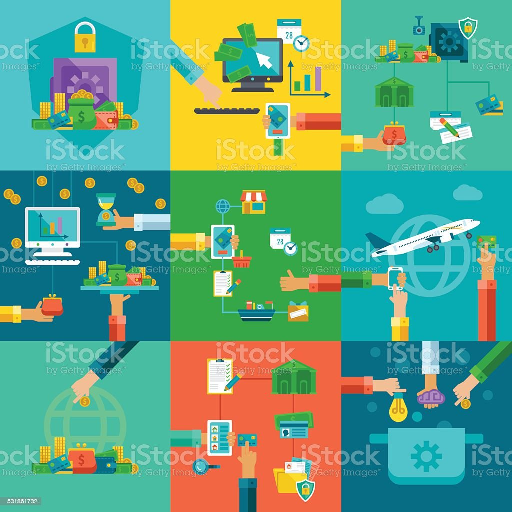Flat concepts set of startup and investing in education. vector art illustration