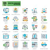 Flat conceptual icons pack business marketing and management