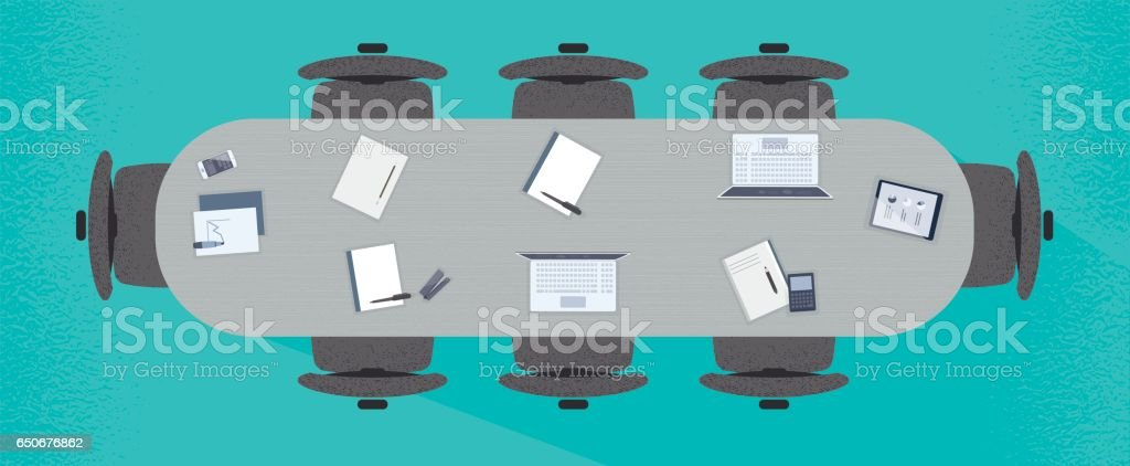 Flat Conference Meeting Table on Blue Background vector art illustration
