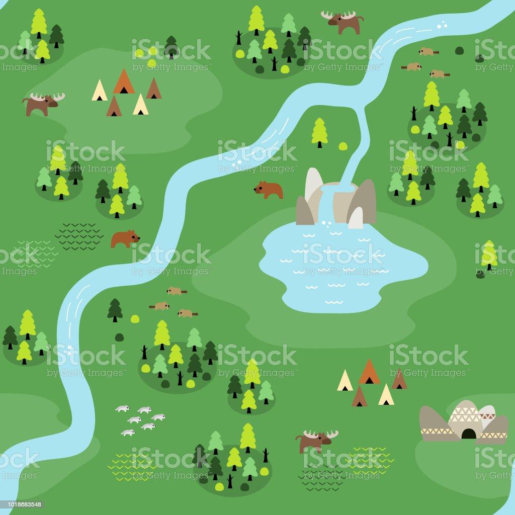 Flat Coniferous Map Pattern vector art illustration