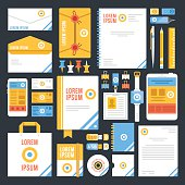 Flat corporate identity template design. Creative vector illustration