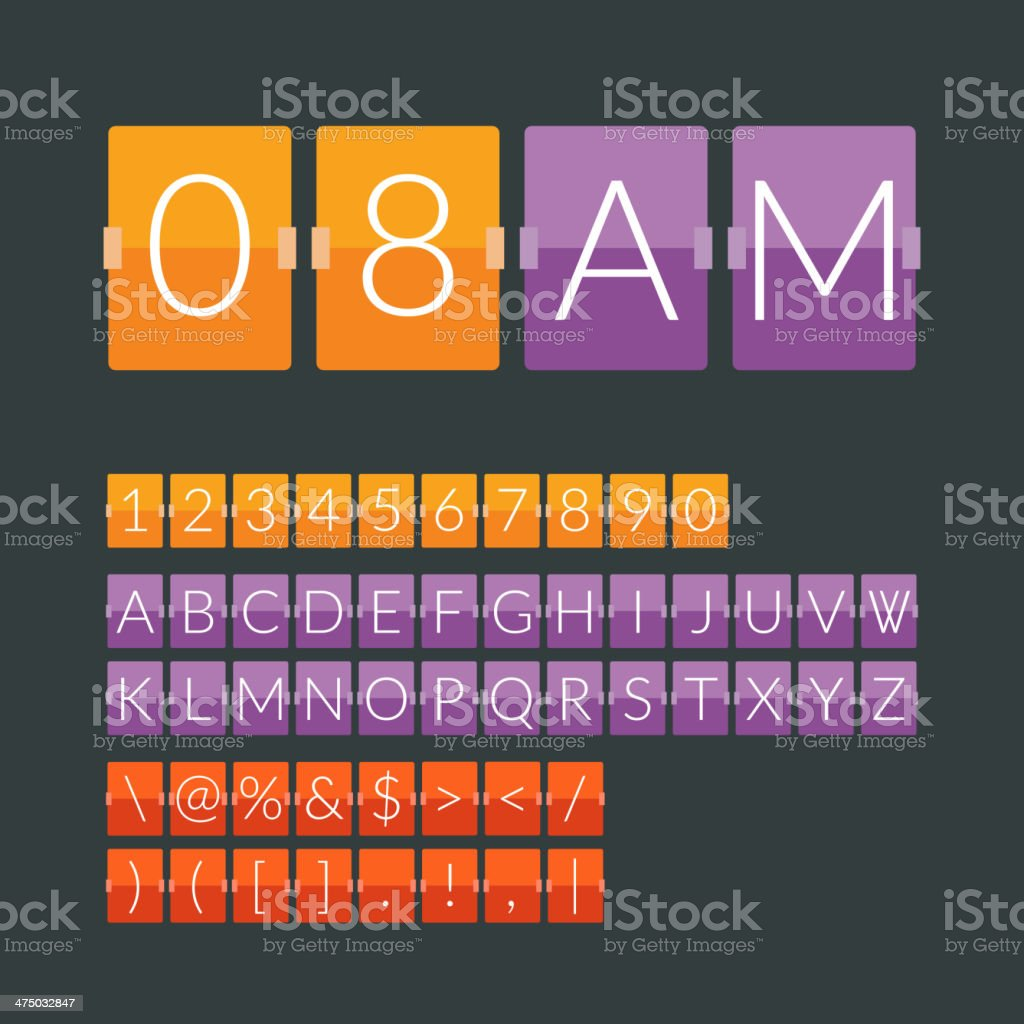 Flat countdown timer vector art illustration