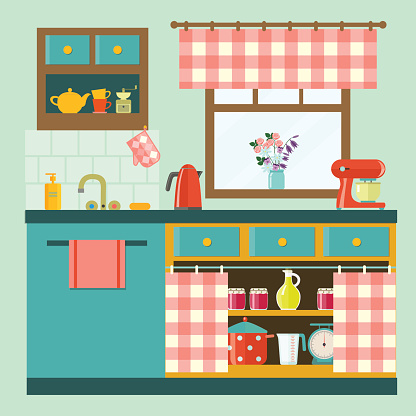 flat cozy kitchen in rustic style .vector illustration
