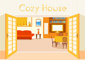 Flat cozy room in house with furniture background vector illustration