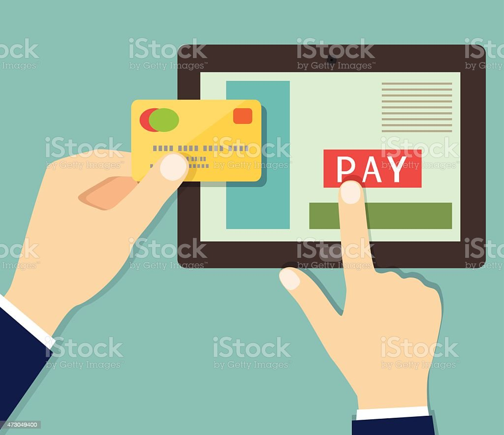 flat credit card mobile payment hand. vector illustration vektör sanat illüstrasyonu