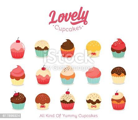 istock Flat cupcake illustration 617899324