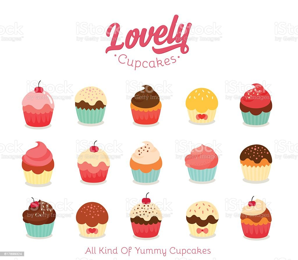 Flat cupcake illustration vector art illustration