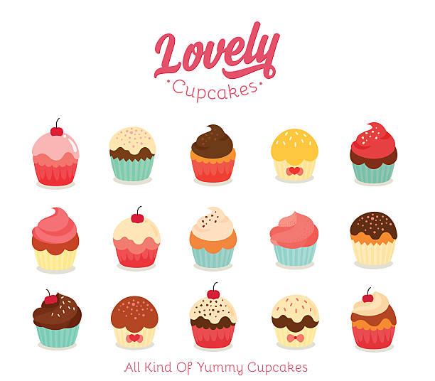 flat cupcake illustration - cupcake stock-grafiken, -clipart, -cartoons und -symbole