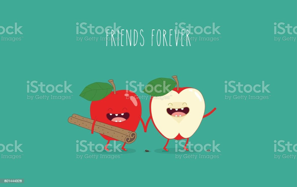 flat cute and funny green apple fruit set in various emotion and face in blue background for kids children company business and organization vector art illustration