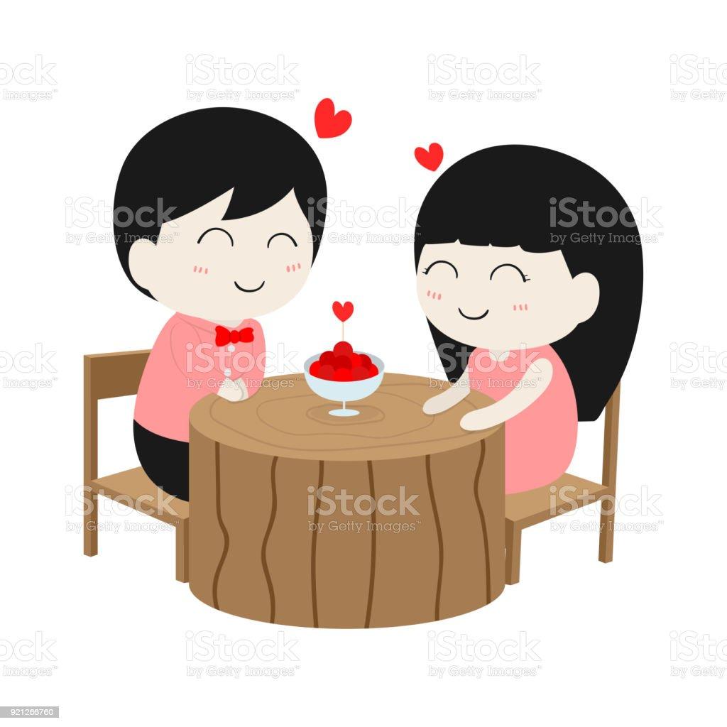 バレンタインデーの分離された白い背景の上でのかわいい漫画文字夫婦愛は