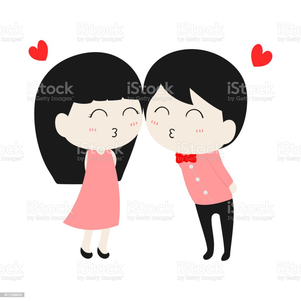 Flat Cute Cartoon Character Couple Love In Valentines Day Isolated