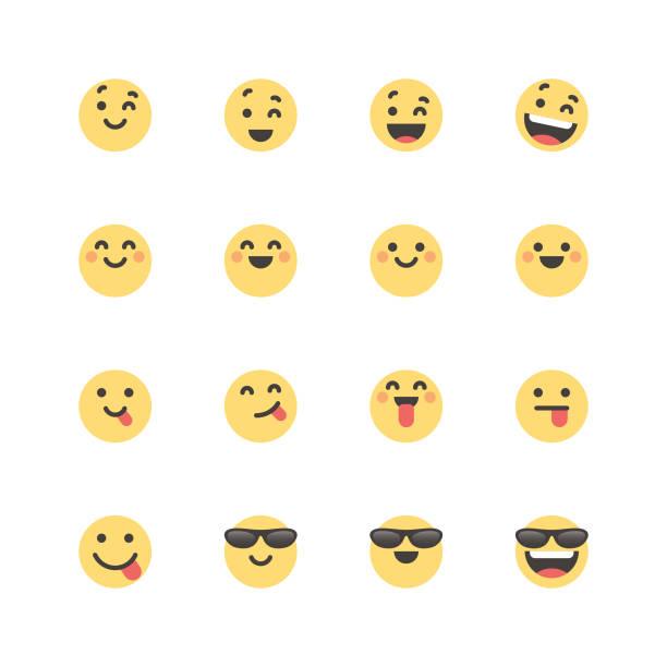 illustrazioni stock, clip art, cartoni animati e icone di tendenza di flat cute emoticons set 1 - fare l'occhiolino