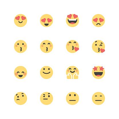 Flat cute emoticons set 1