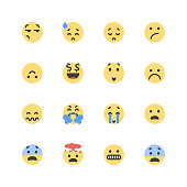 Vector illustration of a set of cute an flat design color emoticons