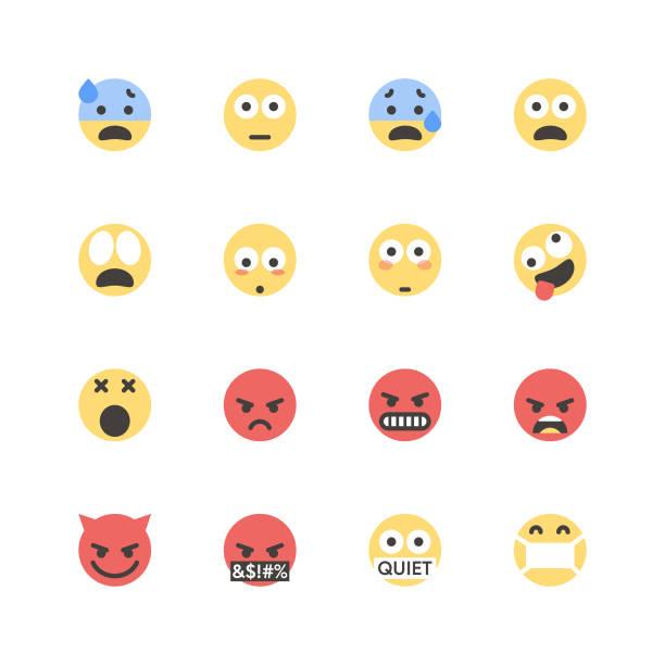 illustrazioni stock, clip art, cartoni animati e icone di tendenza di flat cute emoticons set 1 - furioso