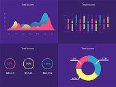 Flat dashboard, set of ui web infographic elements