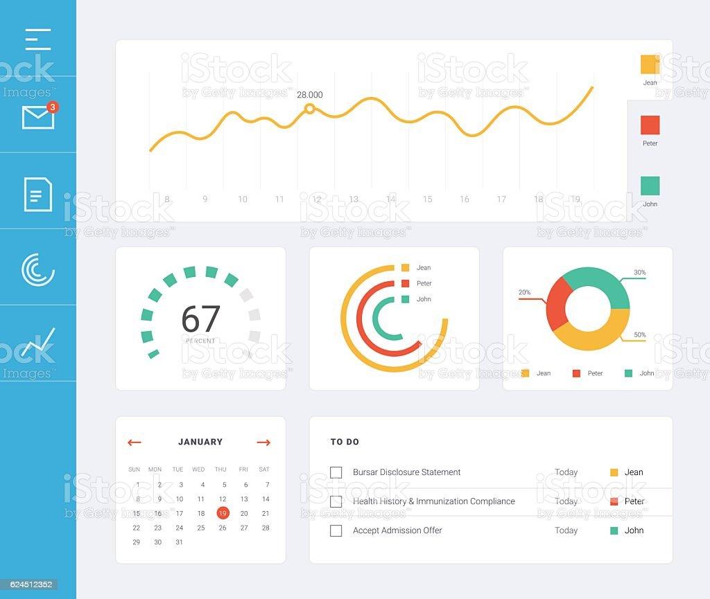 Benutzeroberfläche flachen Dashboard – Vektorgrafik
