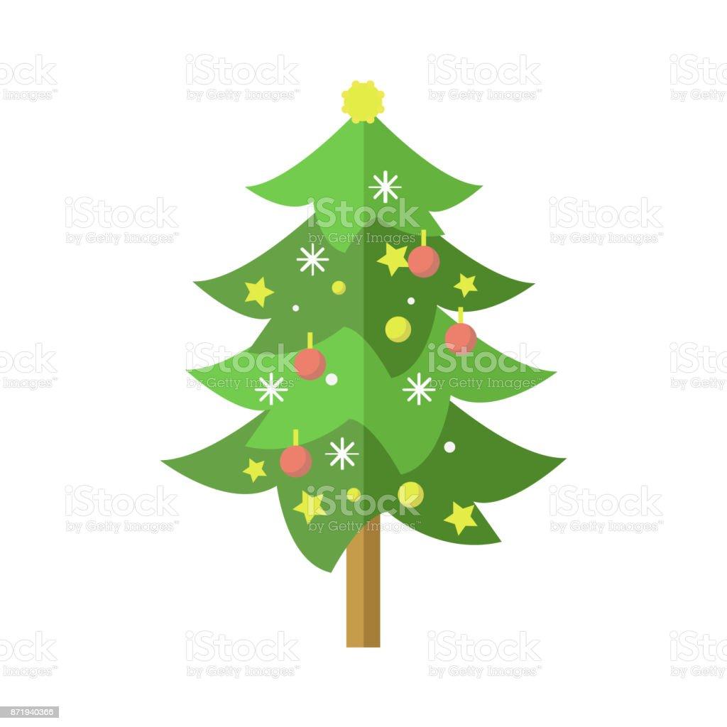 Ilustración De Piso Decorado árbol De Pino De Navidad De Dibujos
