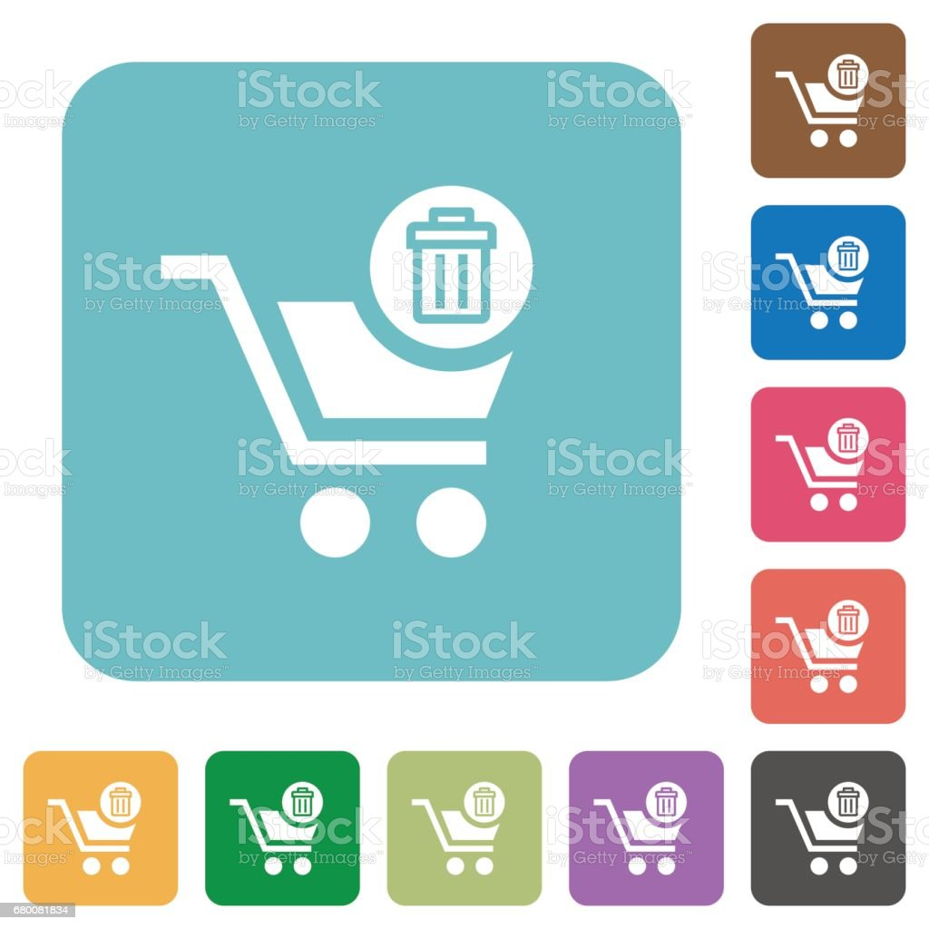 Flat Delete from cart icons vector art illustration